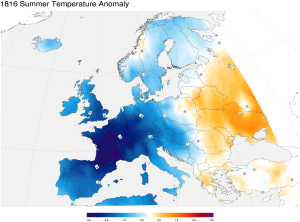 Temperature anomalies for the summer of 1816 in Europe.   Source: NOAA