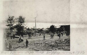 Devastation in Albertville, Alabama after an F4 tornado struck the town during the Dixie outbreak of April 24, 1908. This tornado killed 35 people and 324 died during the outbreak, which took place almost entirely within Dixie Alley. An outbreak on the Plains the previous day produced an F5 in Nebraska.  Source: NOAA