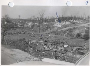 Total destruction in the Stacy Hollow neighborhood near McDonald Chapel after the April 15, 1956 tornado.  Source: NOAA