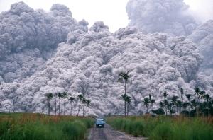 The pyroclastic flow from the Mt. Pinatubo eruption in 1991. The Tambora eruption was 14.5 times more powerful.  Source: PBS