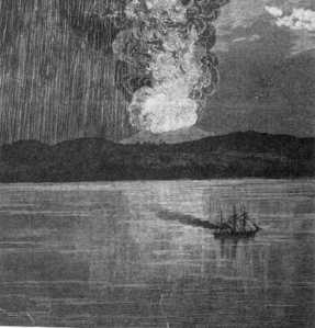 A contemporary etching of the eruption.