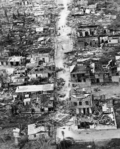 Damage in Haiti from Hurricane Flora.  Flora was the worst hurricane in Haiti's history and the sixth deadliest Atlantic hurricane on record. It occurred during a moderate El Niño with a +1.2 Pacific Ocean temperature anomaly.  Source: HistoryMiami