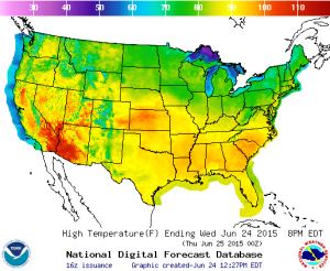 Today's high temperatures, showing the heat spread across the southeast and southwest, as well as the plains of Kansas.  Source: NOAA