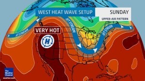 The west is about to really heat up as a high pressure moves north and sets up an intense heat wave. Source: The Weather Channel