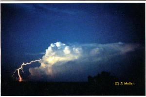 This spectacular image taken by the late meteorologist Al Moller in 1976 is an excellent example of a positive lightning strike.