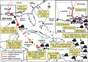 A modern reconstruction of the track of the 1812 hurricane based on historical observations. Source: Mock et. al. (2010)