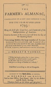 The Farmers' Almanac was first published in 1792, with articles and predictions for 1793. Credit: Old Farmers' Almanac