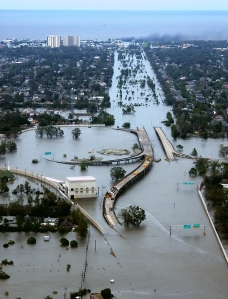 Incredible aerial shot of the flooding in New Orleans after Katrina.  Source: US Coast Guard