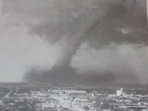 This spectacular image of the tornado entering Wichita Falls was captured by a local news tower cam. Credit: KAUZ-TV